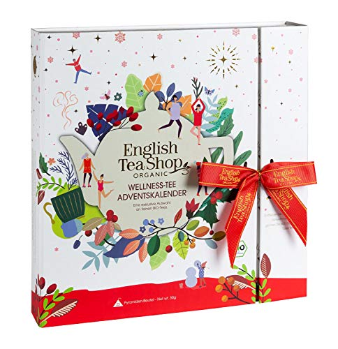 English Tea Shop - Wellness Tee Adventskalender, 25 hochwertige BIO-Tees in Pyramiden-Teebeuteln