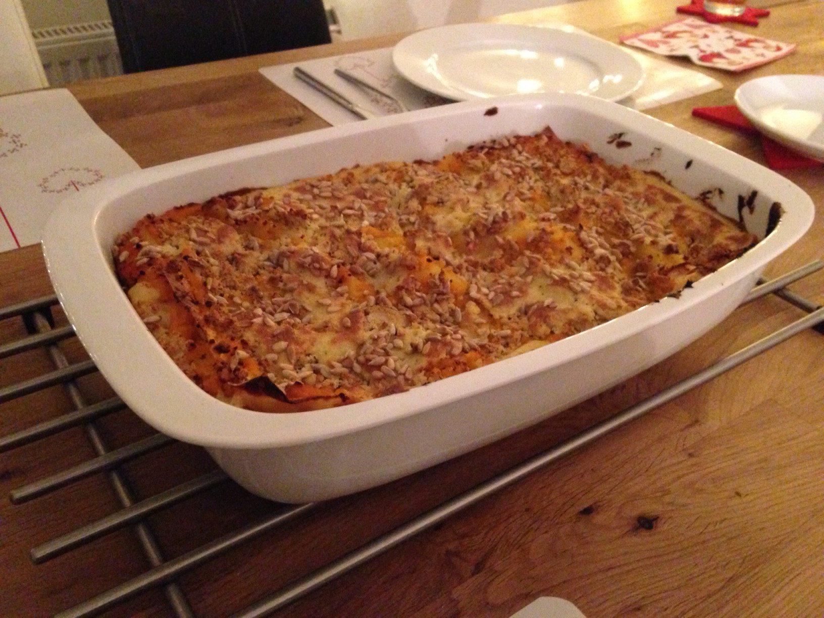 Kürbis Lasagne vegan zubereitet