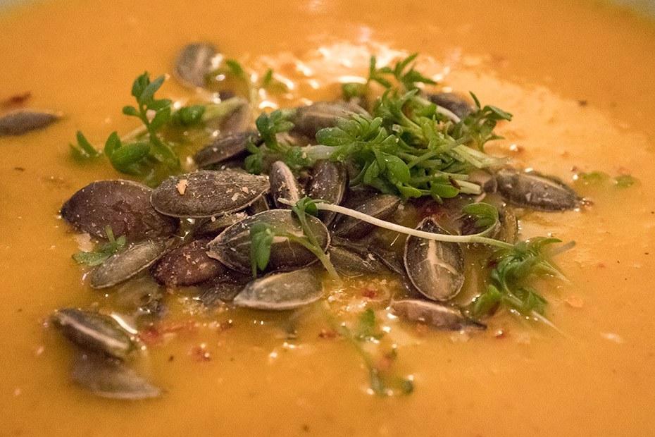 Details der Süßkartoffelsuppe