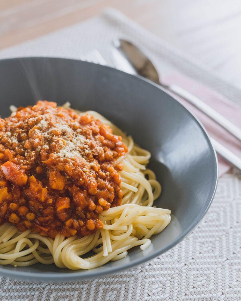 Rezept für vegane Linsen-Bolognese