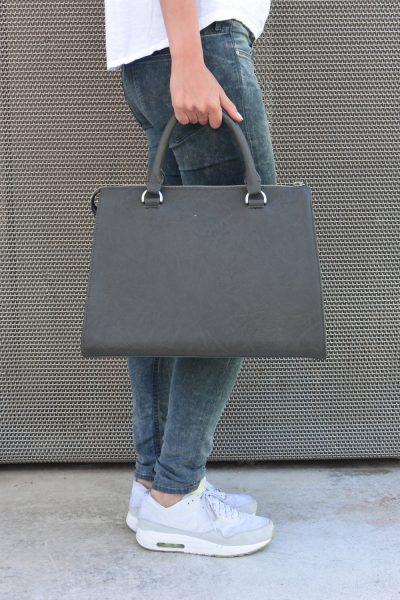 Tasche aus veganem Leder - Denise Robool Elite Dark Grey